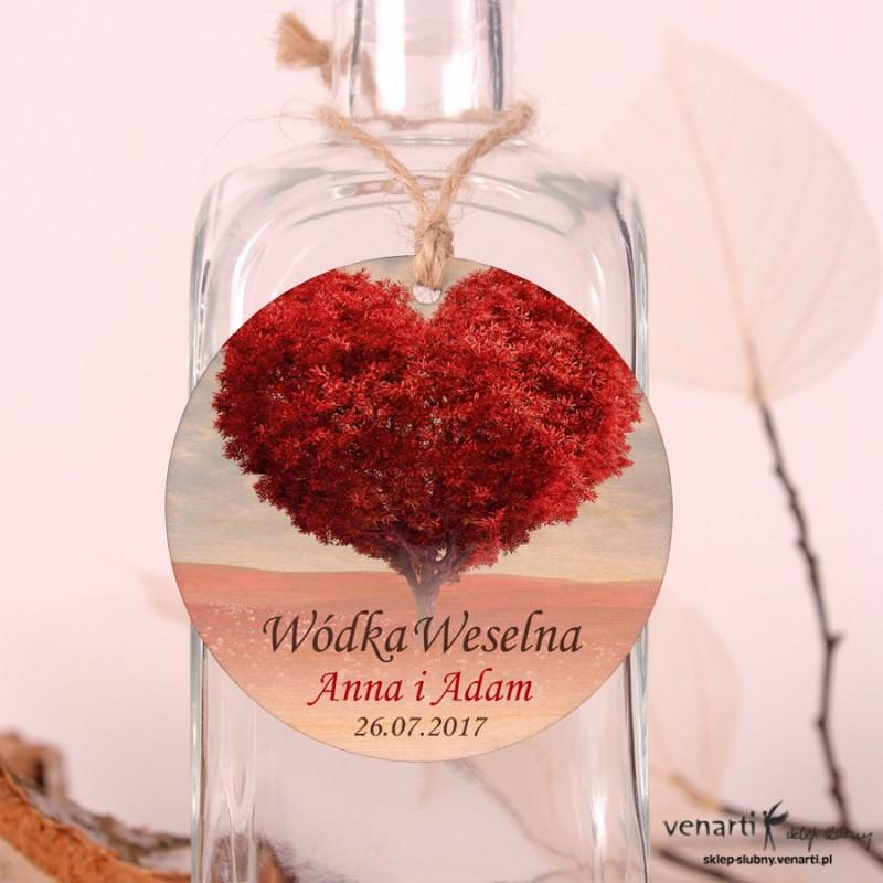 Drzewo serce - Ślubne, drewniane zawieszki