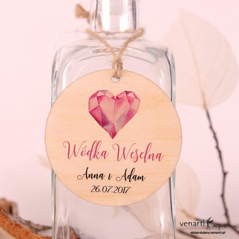 Diamentowe serce - Ślubne, drewniane zawieszki