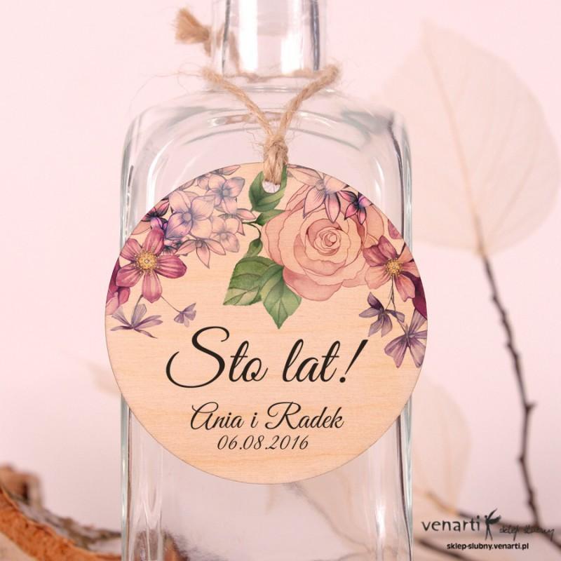 Rustykalne kwiaty - Ślubne, drewniane zawieszki