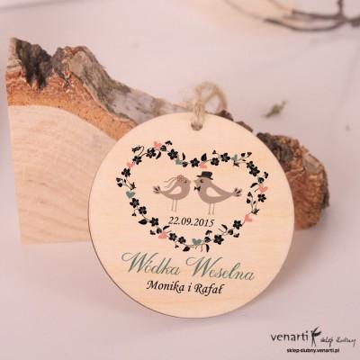 Para ptaszków - Ślubne, drewniane zawieszki