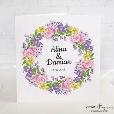 Kwiatowy wianek Zaproszenia ślubne
