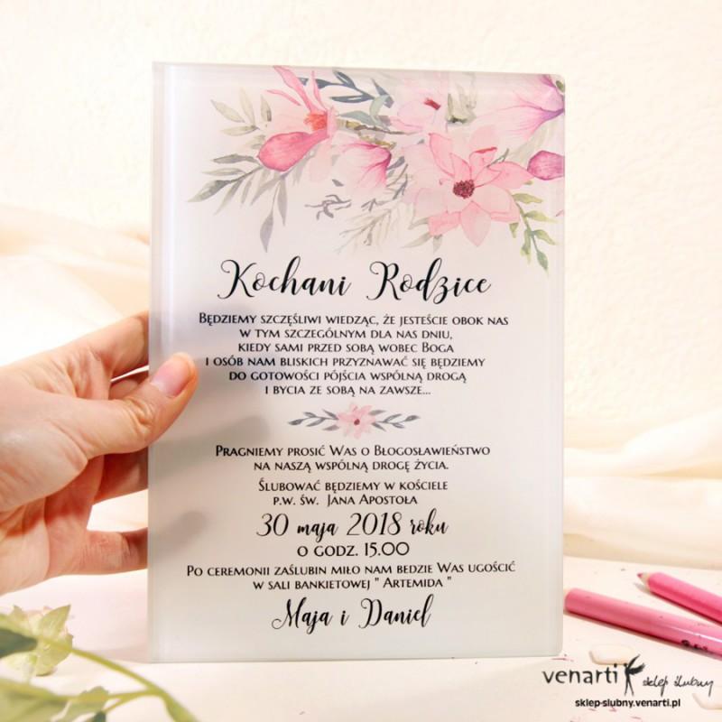 Magnolia Szklane zaproszenia dla Rodziców