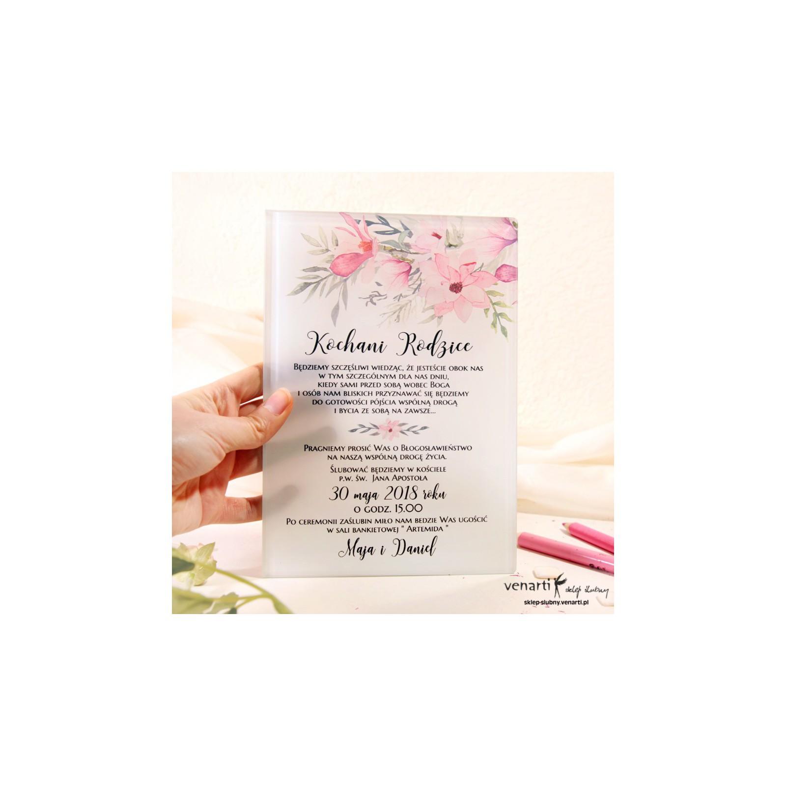 Magnolia Szklane Zaproszenia Dla Rodziców 1952 Sklep ślubny Venarti