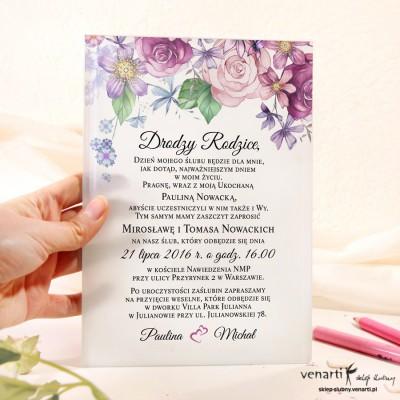 Rustykalne kwiaty Szklane zaproszenia dla Rodziców