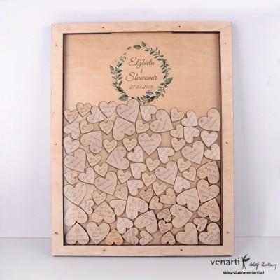 Zielone liście Księga gości duża rama z serduszkami