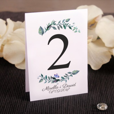 Zielone liście Ślubne numerki na stół