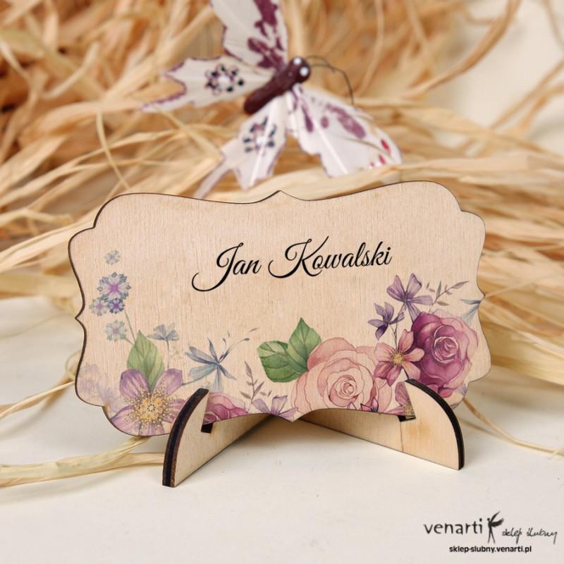 Kwiatowe winietki drewniane