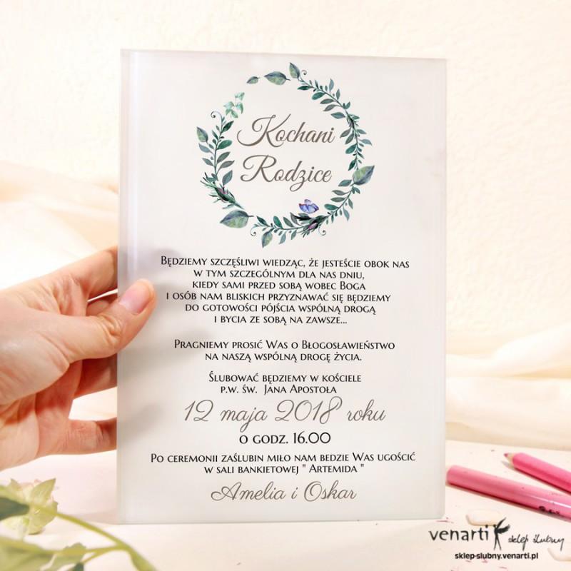 Zielone liście Szklane zaproszenia dla Rodziców