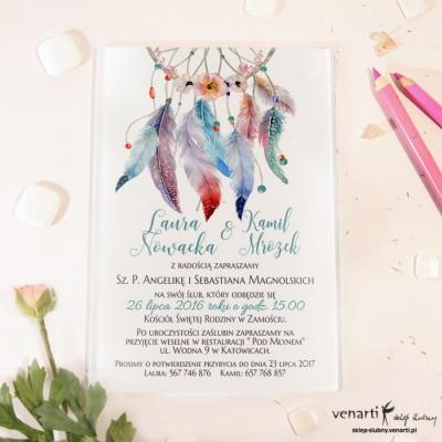 Niebieskie pióra boho Szklane zaproszenia ślubne