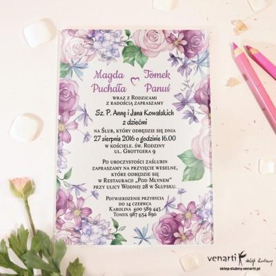 Rustykalne kwiaty Szklane zaproszenia ślubne