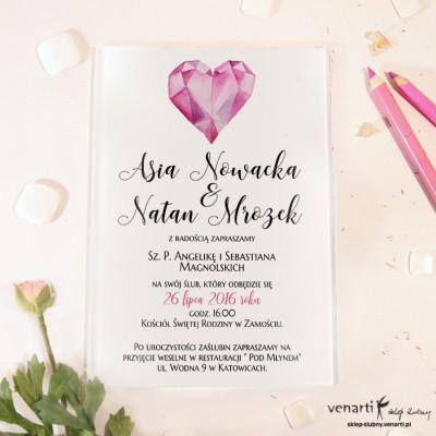 Diamentowe serce Szklane zaproszenia ślubne