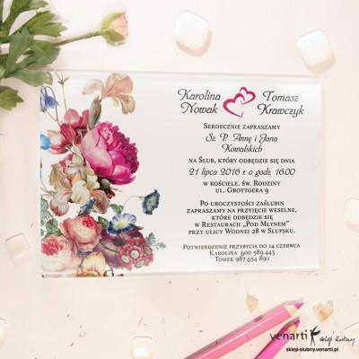 Eko kwiaty Szklane zaproszenia ślubne
