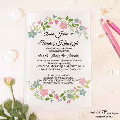 Wiosenny wianek Szklane zaproszenia ślubne