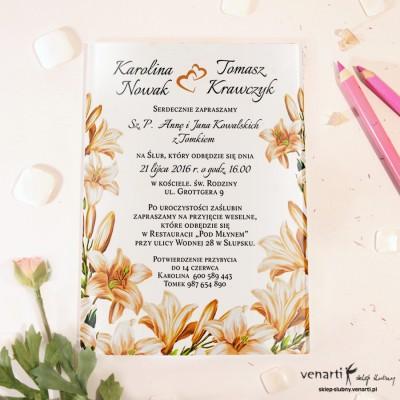 Pomarańczowe kwiaty Szklane zaproszenia ślubne