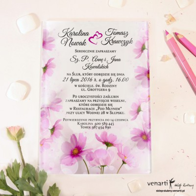 Różowe kwiaty Szklane zaproszenia ślubne