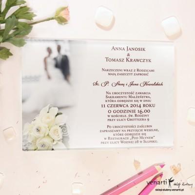 Ślubna para Szklane zaproszenia ślubne