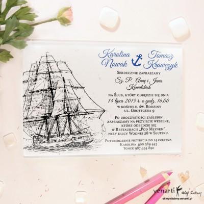 Statek Szklane zaproszenia ślubne
