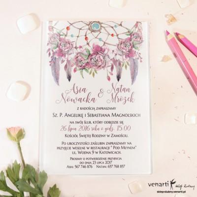 Różowe boho Szklane zaproszenia ślubne