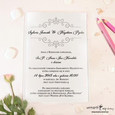 Szary wzorek Szklane zaproszenia ślubne