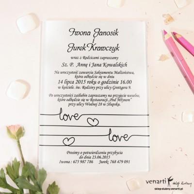 Love Szklane zaproszenia ślubne