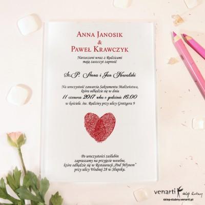 Serce z odcisków Szklane zaproszenia ślubne