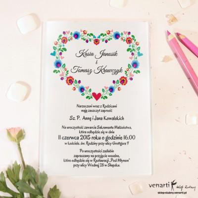 Serce folk Szklane zaproszenia ślubne