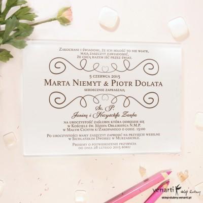Brązowy wzorek Szklane zaproszenia ślubne