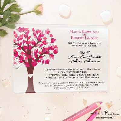 Różowe drzewo Szklane zaproszenia ślubne