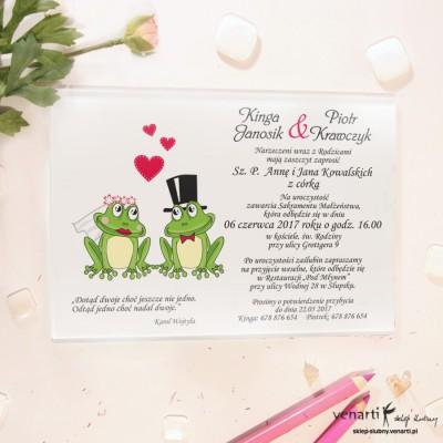 Żaby Szklane zaproszenia ślubne