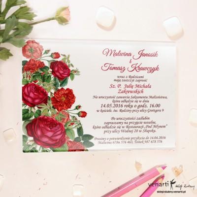 Róże Szklane zaproszenia ślubne