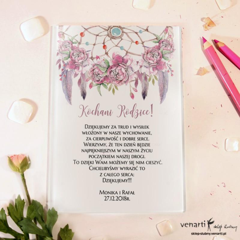 Różowe pióra boho Szklane podziękowania dla Rodziców