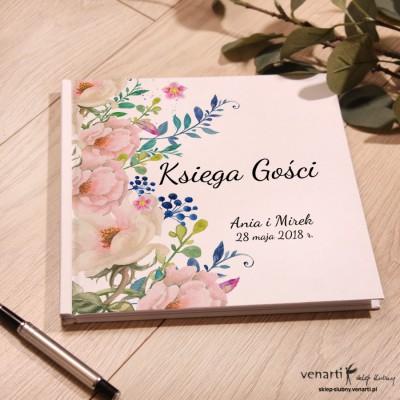 Kremowe róże Ślubny, biały album, księga gości