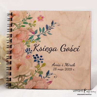 Kremowe róże Drewniany album, księga wpisów