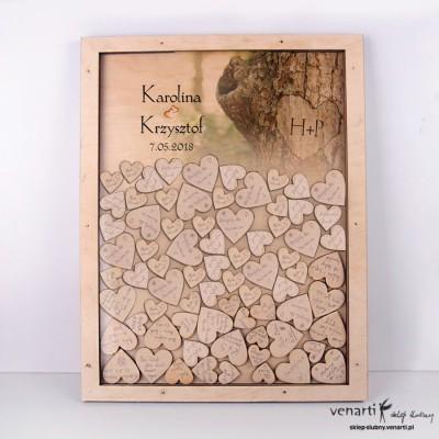 Kora z drzewa Księga gości duża rama z serduszkami