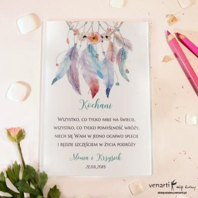 Pióra boho Szklane karty z życzeniami