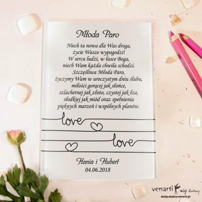 Love Szklane karty z życzeniami