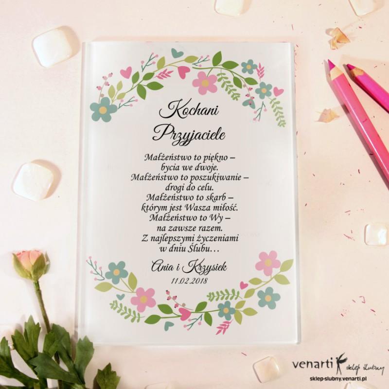 Wiosenny wianek Szklane karty z życzeniami
