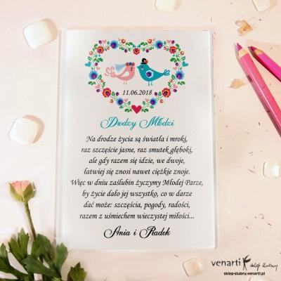 Ptaszki w sercu folk Szklane karty z życzeniami
