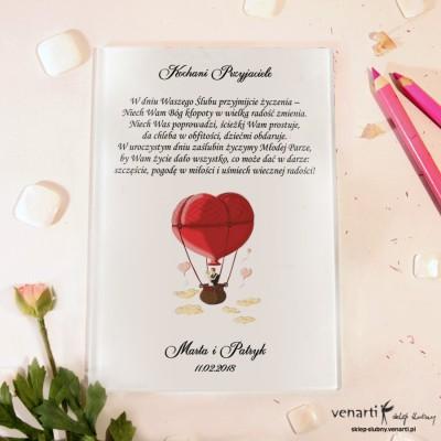 Para w balonie Szklane karty z życzeniami