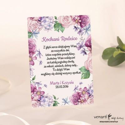 Rustykalne kwiaty Szklane podziękowania dla Rodziców