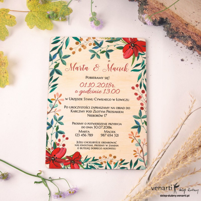 Ludowe kwiaty Drewniane zaproszenia ślubne