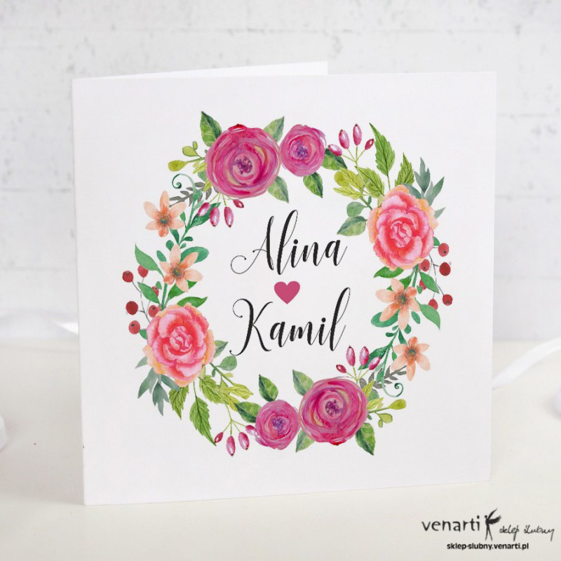 Różowe kwiaty Zaproszenia ślubne