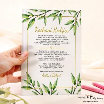 Eukaliptus Szklane zaproszenia dla Rodziców