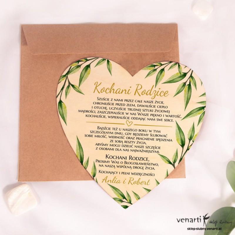 Liście eukaliptusa Drewniane zaproszenie dla Rodziców