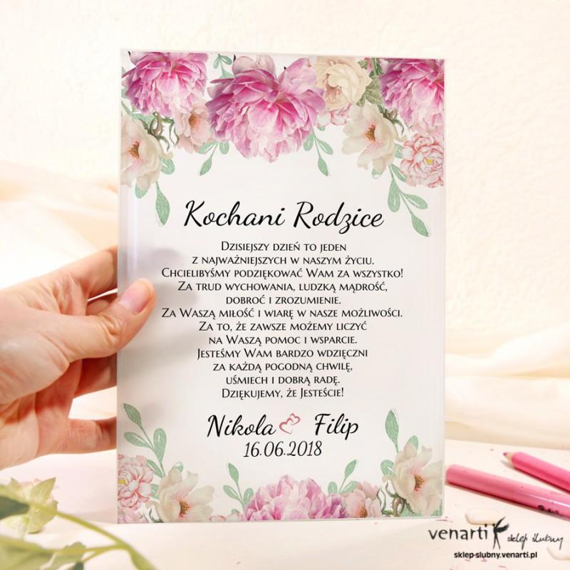Piwonie Szklane Zaproszenia Dla Rodziców 2055 Sklep ślubny Venarti