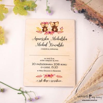 Para misiów drewniane zaproszenia ślubne