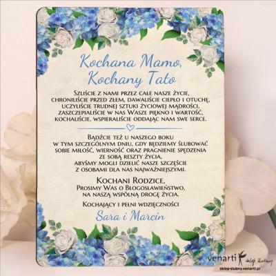 Hortensja Drewniane zaproszenia dla Rodziców