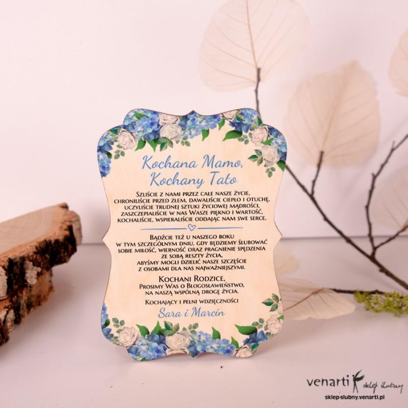 Hortensja Drewniane, ozdobne zaproszenia dla Rodziców