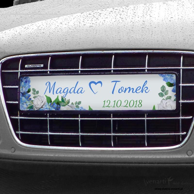 Hortensje Ślubne tablice rejestracyjne