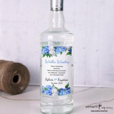 Hortensja Ślubne etykiety na alkohol
